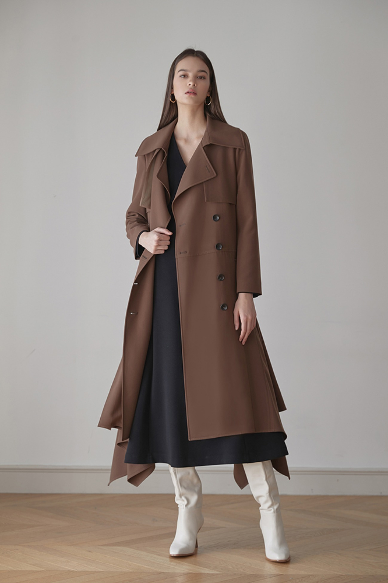 Ruffled Trench Coat In Faille